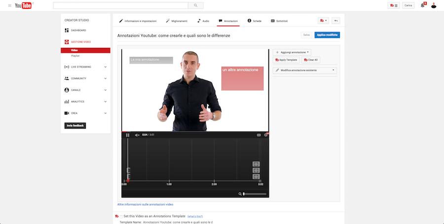 Annotazioni Youtube
